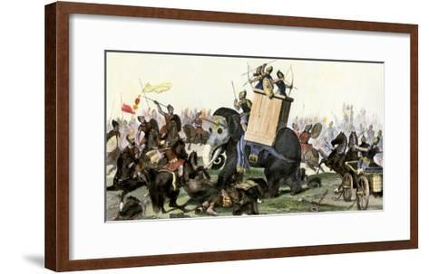 Military Battle Using Armored Elephants and Chariots in the Time of the Roman Empire--Framed Art Print
