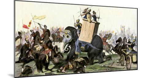 Military Battle Using Armored Elephants and Chariots in the Time of the Roman Empire--Mounted Giclee Print