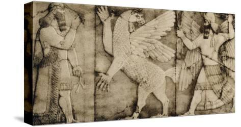 Carving of a Winged Lion in Battle at the Entrance to an Assyrian Temple--Stretched Canvas Print