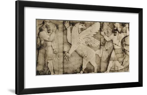 Carving of a Winged Lion in Battle at the Entrance to an Assyrian Temple--Framed Art Print