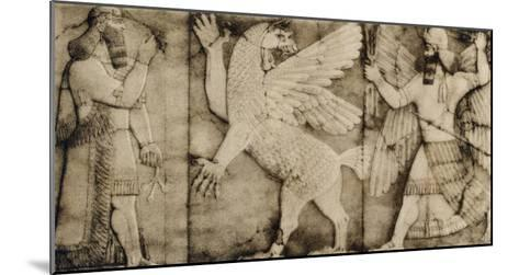 Carving of a Winged Lion in Battle at the Entrance to an Assyrian Temple--Mounted Giclee Print