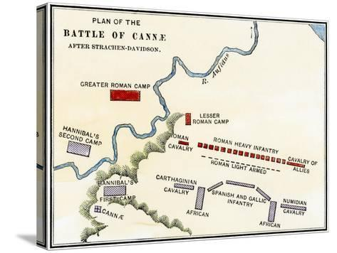 Map of the Battle of Cannae, in Which Hannibal Defeated the Romans During the Second Punic War--Stretched Canvas Print