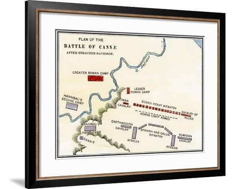 Map of the Battle of Cannae, in Which Hannibal Defeated the Romans During the Second Punic War--Framed Art Print