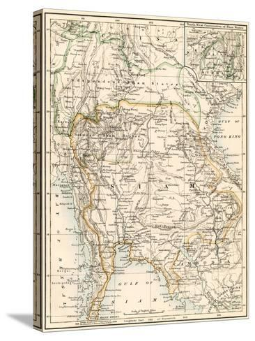 Map of Siam and the Independent Shan States, 1870s--Stretched Canvas Print