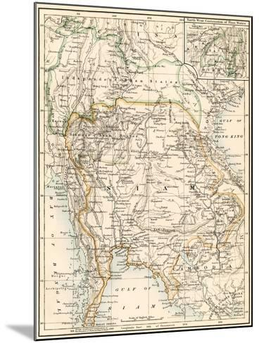 Map of Siam and the Independent Shan States, 1870s--Mounted Giclee Print