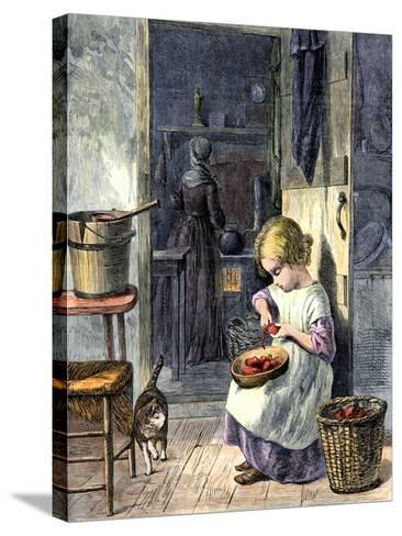 Young Girl Peeling Apples for Her Mother--Stretched Canvas Print