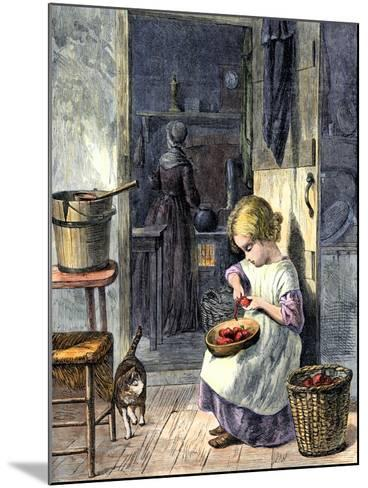 Young Girl Peeling Apples for Her Mother--Mounted Giclee Print