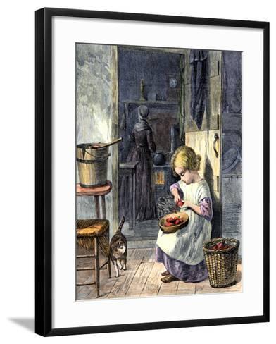 Young Girl Peeling Apples for Her Mother--Framed Art Print