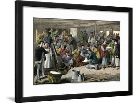 Chinese Immigrants Aboard the Pacific Mail Steamship Alaska--Framed Art Print