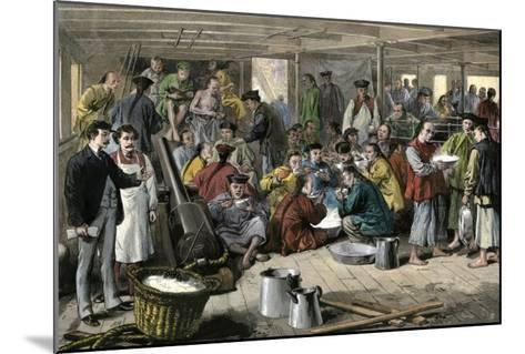 Chinese Immigrants Aboard the Pacific Mail Steamship Alaska--Mounted Giclee Print