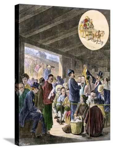 Chinese Immigrants at the San Francisco Custom-Hoouse, 1870s--Stretched Canvas Print