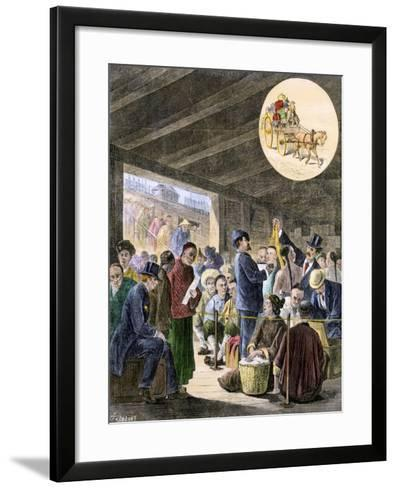 Chinese Immigrants at the San Francisco Custom-Hoouse, 1870s--Framed Art Print