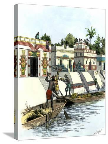 Aztec Merchants on a Canal in Tenochtitlan before the Spanish Conquest--Stretched Canvas Print