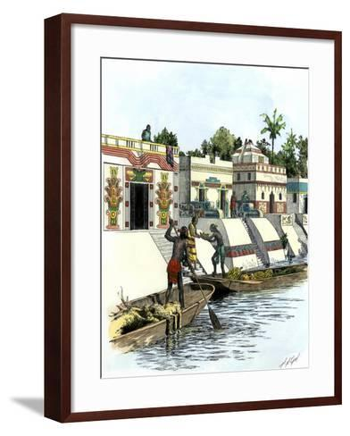 Aztec Merchants on a Canal in Tenochtitlan before the Spanish Conquest--Framed Art Print