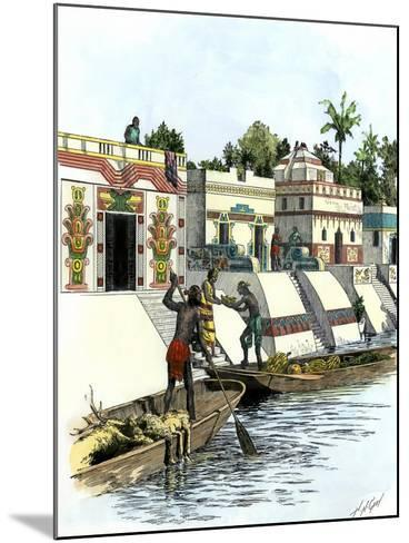 Aztec Merchants on a Canal in Tenochtitlan before the Spanish Conquest--Mounted Giclee Print