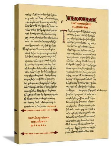 A Manuscript of Demosthenes Copied by Hand in the Tenth Century--Stretched Canvas Print