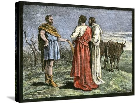 Cincinnatus on His Farm, Accepting Dictatorship of Rome from the Senate, 458 Bc--Stretched Canvas Print