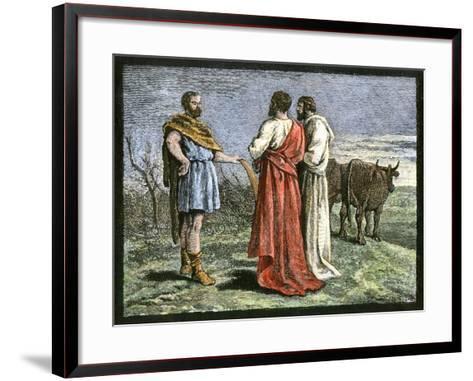 Cincinnatus on His Farm, Accepting Dictatorship of Rome from the Senate, 458 Bc--Framed Art Print