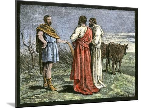 Cincinnatus on His Farm, Accepting Dictatorship of Rome from the Senate, 458 Bc--Mounted Giclee Print