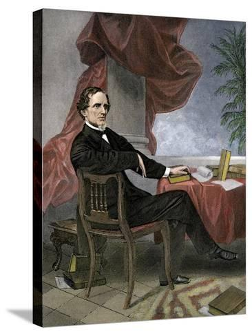 Jefferson Davis, President of the Confederate States of America, at His Desk--Stretched Canvas Print