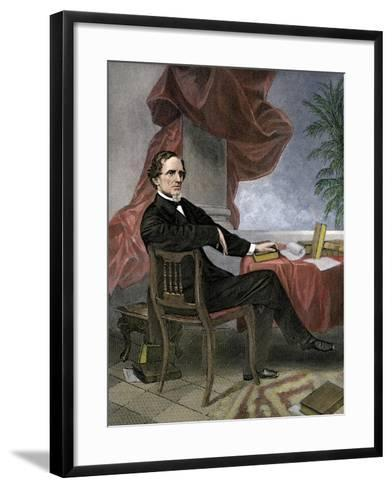 Jefferson Davis, President of the Confederate States of America, at His Desk--Framed Art Print