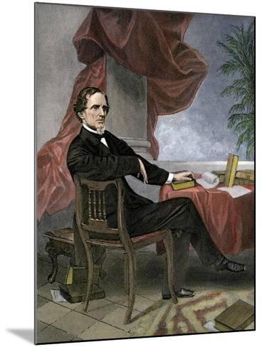 Jefferson Davis, President of the Confederate States of America, at His Desk--Mounted Giclee Print
