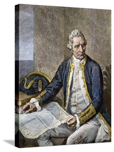 Captain James Cook Regarding a Map--Stretched Canvas Print