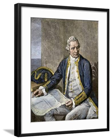 Captain James Cook Regarding a Map--Framed Art Print