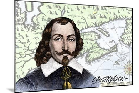 Samuel De Champlain and His Map of the Gulf of St. Lawrence, Canada--Mounted Giclee Print