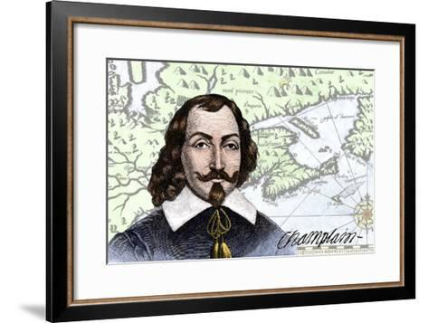 Samuel De Champlain and His Map of the Gulf of St. Lawrence, Canada--Framed Art Print