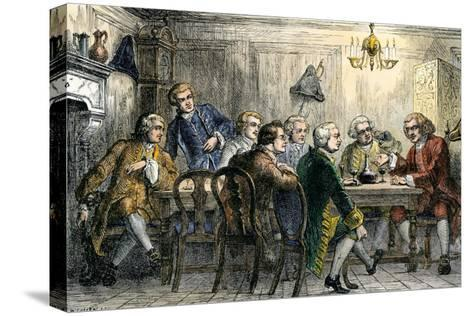Samuel Johson and James Boswell at the Literary Club, London, 1700s--Stretched Canvas Print