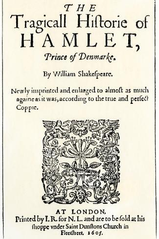 Title Page of the 1605 Hamlet by William Shakespeare--Stretched Canvas Print