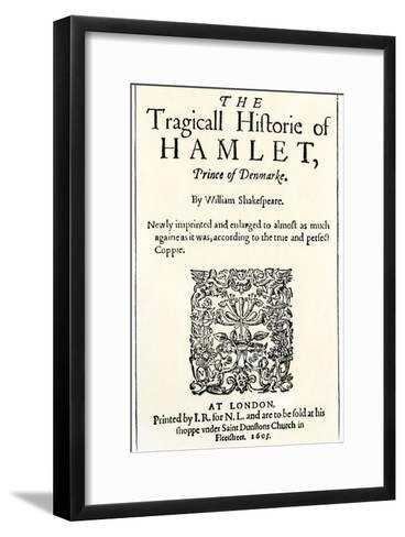 Title Page of the 1605 Hamlet by William Shakespeare--Framed Art Print