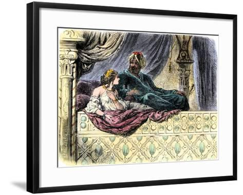 Schahriar Hearing One of the 1001 Nights Stories from Sheherazade--Framed Art Print