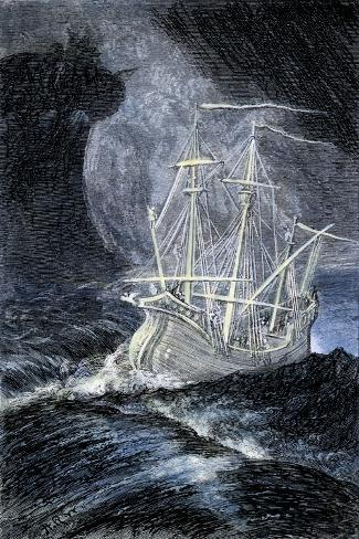 Ghost-Ship in a Storm--Stretched Canvas Print