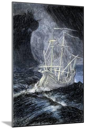 Ghost-Ship in a Storm--Mounted Giclee Print