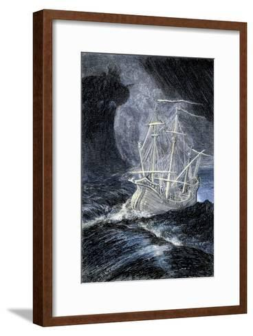 Ghost-Ship in a Storm--Framed Art Print
