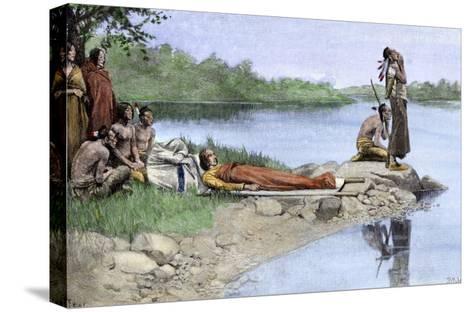 Death of Wampanoag Chief Wamsutta, or Alexander--Stretched Canvas Print