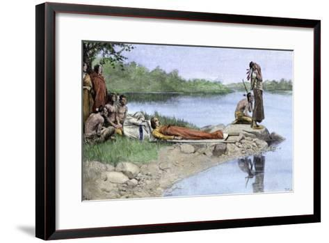 Death of Wampanoag Chief Wamsutta, or Alexander--Framed Art Print