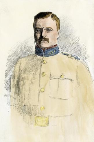 Colonel Theodore Roosevelt When a Rough Rider, 1890s--Stretched Canvas Print