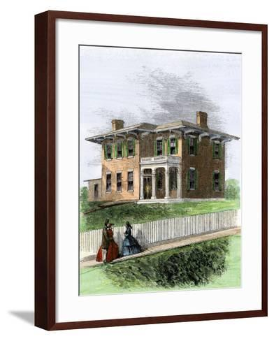 Residence of Ulysses S. Grant in Galena, Illinois. View in 1860s--Framed Art Print
