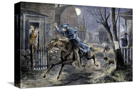 Paul Revere's Ride to Rouse Minutemen before the Battle of Lexington, April 19, 1775--Stretched Canvas Print