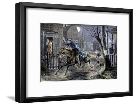 Paul Revere's Ride to Rouse Minutemen before the Battle of Lexington, April 19, 1775--Framed Art Print