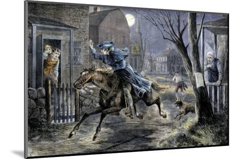 Paul Revere's Ride to Rouse Minutemen before the Battle of Lexington, April 19, 1775--Mounted Giclee Print