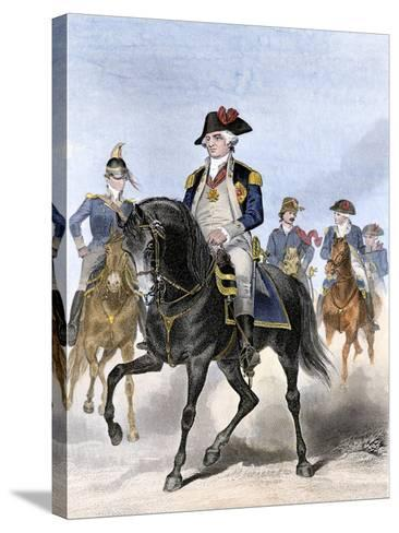 Baron Von Steuben on Horseback with Other Continental Army Officers at Valley Forge--Stretched Canvas Print