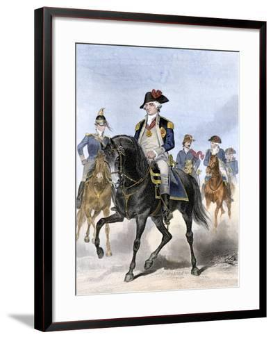 Baron Von Steuben on Horseback with Other Continental Army Officers at Valley Forge--Framed Art Print
