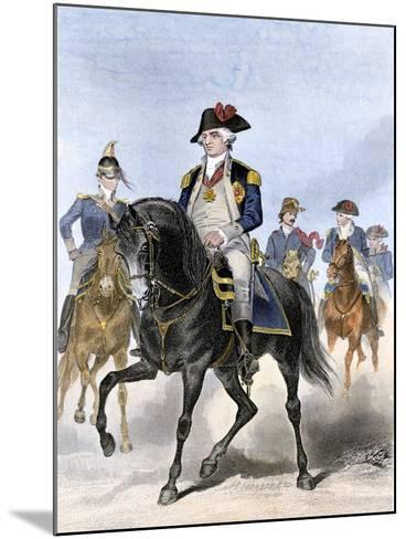 Baron Von Steuben on Horseback with Other Continental Army Officers at Valley Forge--Mounted Giclee Print
