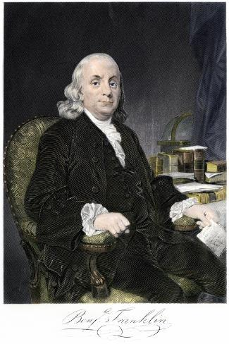 Benjamin Franklin, Seated, with Autograph--Stretched Canvas Print