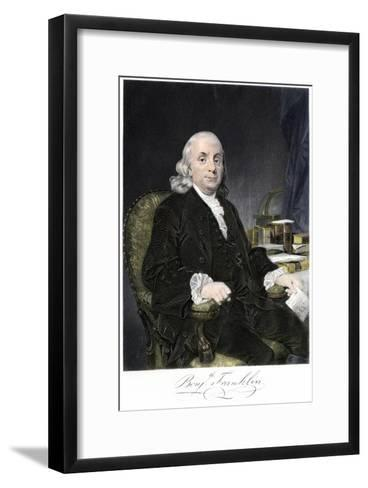 Benjamin Franklin, Seated, with Autograph--Framed Art Print