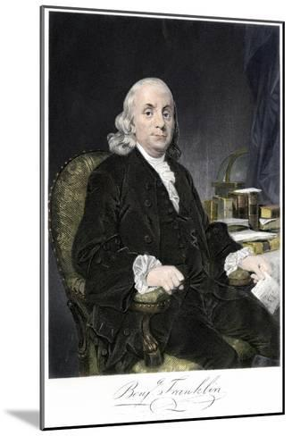 Benjamin Franklin, Seated, with Autograph--Mounted Giclee Print